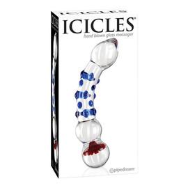 Icicles Hand Blown Glass Massager dildo szklane z wypustkami 18 Przezroczyste