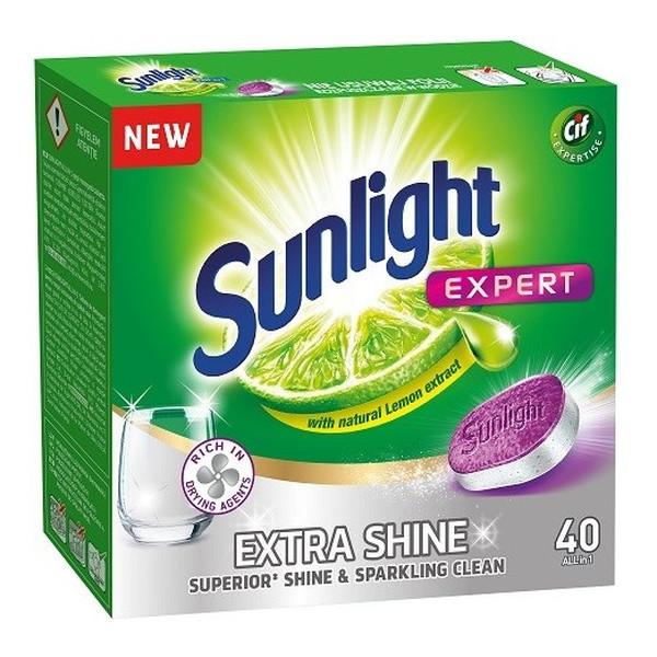 Sunlight Expert Extra Shine tabletki do mycia naczyń w zmywarkach 40szt
