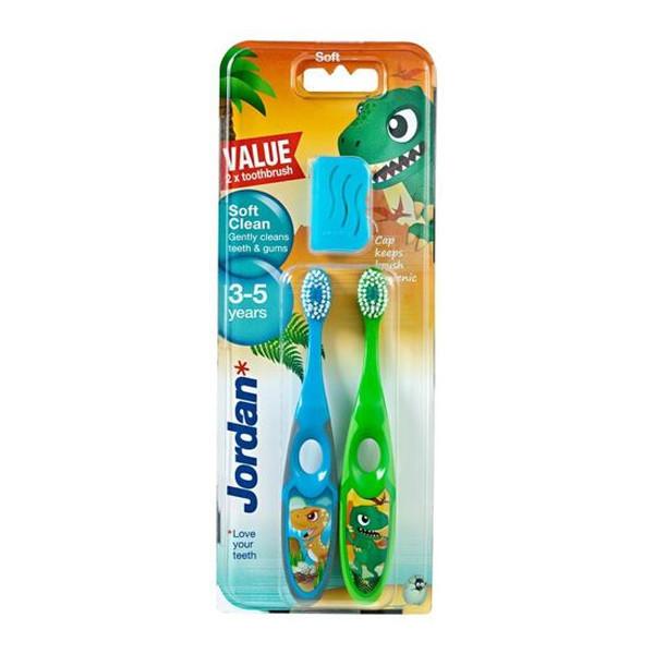 Jordan Soft Clean Szczoteczka do zębów dla dzieci (3-5 lat) miękka 2 szt.