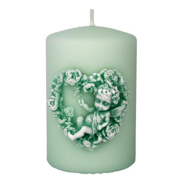 Artman Candles Amore Świeca ozdobna walec mały miętowy