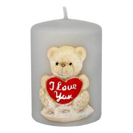 Świeca ozdobna TEDDY w kształcie walca w kolorze szarym 1 sztuka