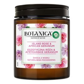 Botanica świeca z wosku naturalnego pochodzenia egzotyczna róża & afrykańskie geranium
