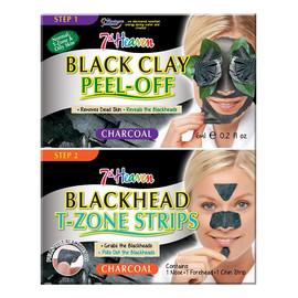 Duo Black Clay Peel Off Węglowa maseczka do twarzy Black Clay + Blackhead T-Zone Strips paski na nos, brodę i czoło niwelujące zaskórniki