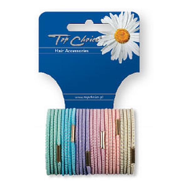 Top Choice Gumki cienkie kolory pastelowe mix 12szt