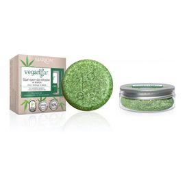 Veganbar szampon do włosów cienkich i przetłuszczających się w kostce olej z konopi & kawa 50g + słoiczek