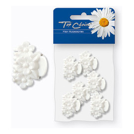 Klamerki do włosów białe kwiaty 6 szt.
