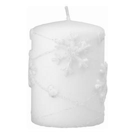 Boże Narodzenie Świeca ozdobna Snowflakes biały - walec mały 1szt