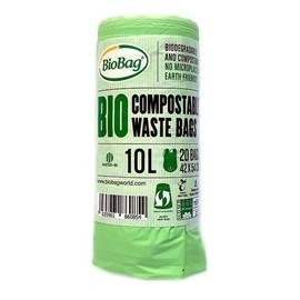 Worki na odpady organiczne i zmieszane, 100% biodegradowalne i kompostowalne,10L rolka 20 szt z banderolą