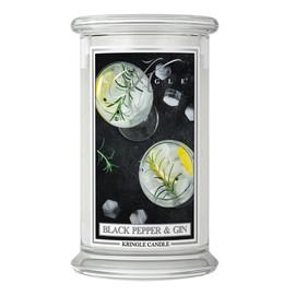 Duża świeca zapachowa z dwoma knotami black pepper gin
