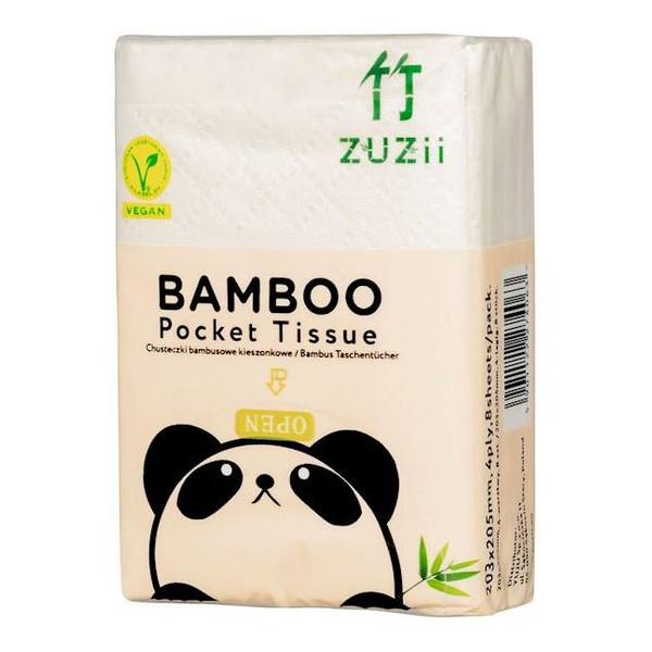 ZUZii Zestaw bambusowych chusteczek higienicznych 4-warstwowych kieszonkowych 8 szt