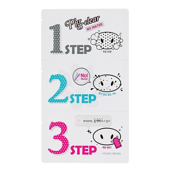 Holika Holika Pig Clear Blackhead 3-Step Kit (No Water) Zestaw Plasterków Do Oczyszczania Porów Na Nosie 3g