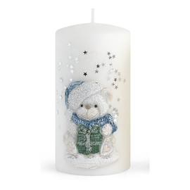Świeca TEDDY Świąteczny walec mały Biały