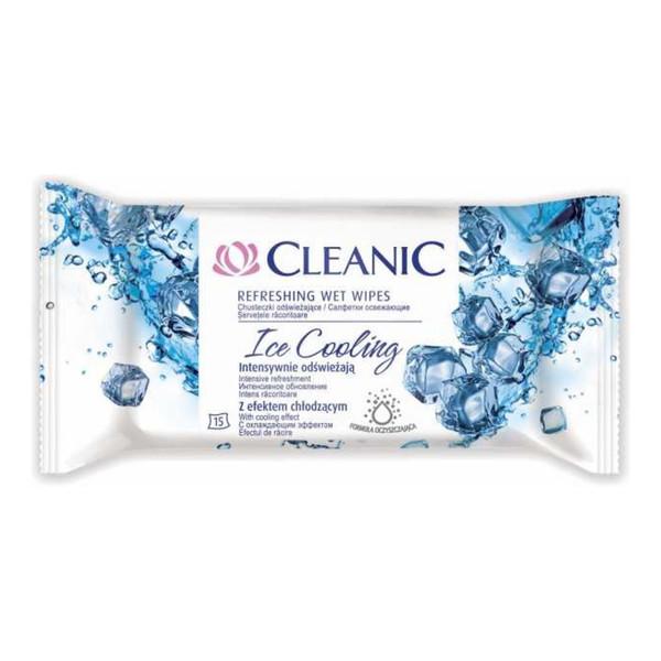 Cleanic Refreshing Wet Wipes Chusteczki Odświeżające Ice Cooling 15 szt. z Efektem Chłodzącym