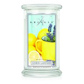 Duża świeca zapachowa z dwoma knotami lemon lavender