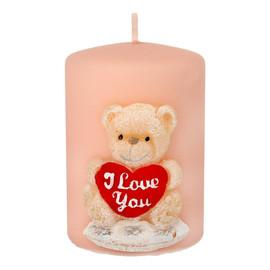 Świeca ozdobna TEDDY w kształcie walca w kolorze różowym