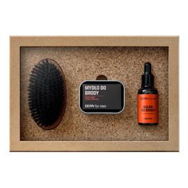 Zestaw mydło do brody 85ml + olejek do brody z olejem konopnym połysk 30ml + mydelniczka + kartacz