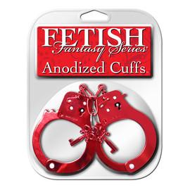Fetish fantasy series anodized cuffs kajdanki galwanizowane czerwone
