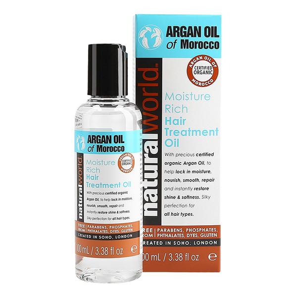 Natural World ARGAN OIL OF MOROCCO Moisture Rich Olejek arganowy do włosów 100ml