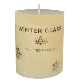 Świeca zapachowa Winter Glass kremowa - walec mały