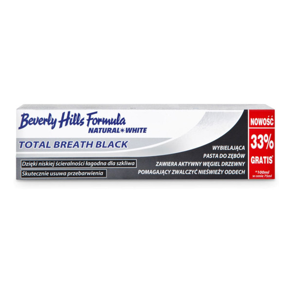 Beverly Hills Formula Total Breath Black Natural White Pasta Do Zębów Wybielająca Świeży Oddech 75ml