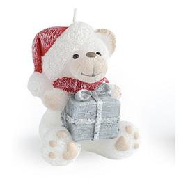Świeca TEDDY Świąteczny figurka Biała