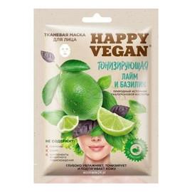 Happy Vegan maska tkaninowa do twarzy,odświeżająca, Limonka & Bazylia