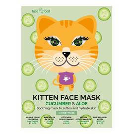 Kitten Face Mask kojąca maseczka w płachcie zmiękczająca i nawilżająca skórę Cucumber & Aloe
