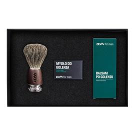 zestaw (mydło do golenia z węglem drzewnym 85ml + balsam po goleniu z czarną hubą 80ml + pędzel do golenia)