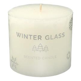 Świeca zapachowa Winter Glass biały - walec mały
