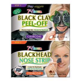 Duo Black Clay Peel Off Węglowa maseczka do twarzy Black Clay + Blackhead Nose Strip pasek na nos niwelujący zaskórniki