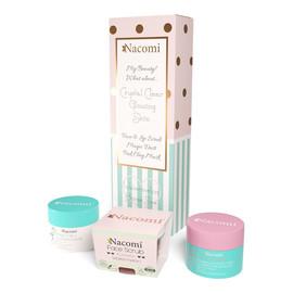 Zestaw maska oczyszczająco-ściągająca różowa 50g + odświeżający peeling do twarzy i ust arbuz 50g + pyłek oczyszczająco-detoksykujący 20g