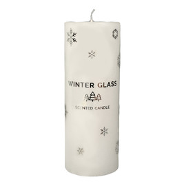Świeca zapachowa Winter Glass biała - walec duży