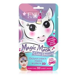 Cute Unicorn oczyszczająca maska w płachcie 3D Orchidea & Ogórek Biała Wierzba