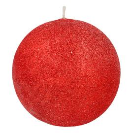 Świeca ozdobna Glamour czerwona - kula mała
