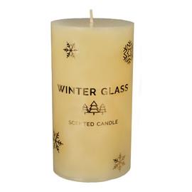 Świeca zapachowa Winter Glass kremowa - walec średni