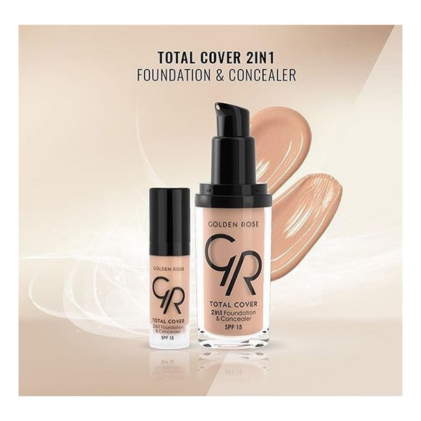 Golden Rose Total Cover 2 in 1 Foundation & Concealer Kryjący podkład i korektor do twarzy 2w1