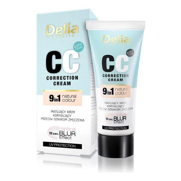 Delia Correction Cream 9 in 1 Natural Colour CC Matujący Krem Korygujacy Przeciw Oznakom Zmęczenia 30ml