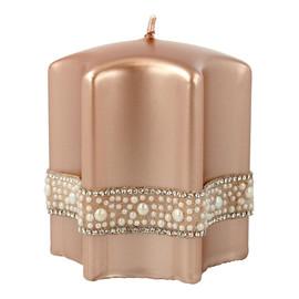 Świeca ozdobna Crystal Pearl rose gold - gwiazda mała