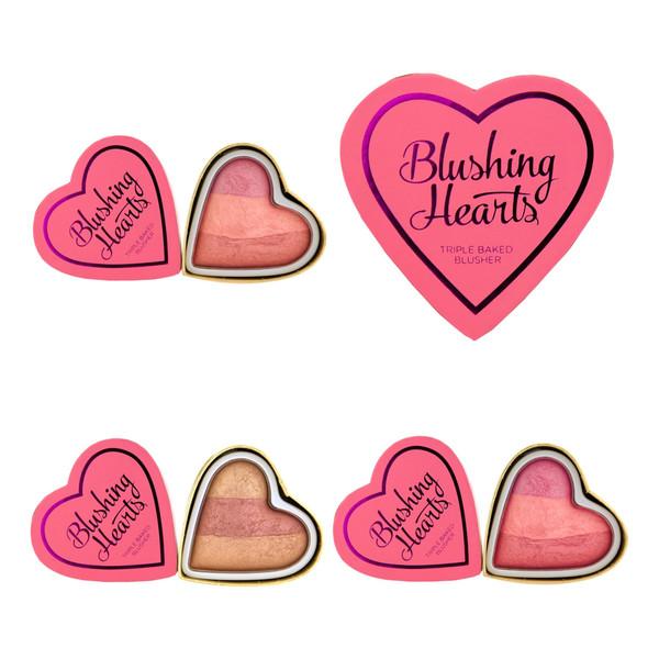 Makeup Revolution I Love Make Up Blushing Hearts Potrójnie Wypiekany Róż Bronzer Do Twarzy 10g