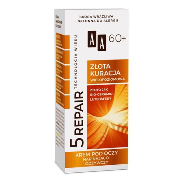 AA Technologia Wieku 5Repair 60+ Złota Kuracja Krem napinająco-odżywczy pod oczy 15ml