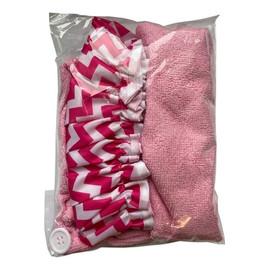 Zestaw czepek + turban różowy