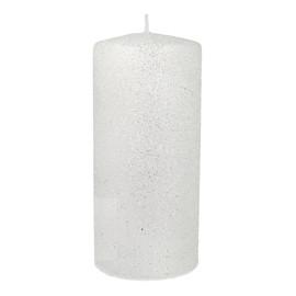 Świeca ozdobna Glamour biała - walec średni
