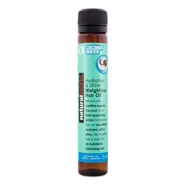 Natural World COCONUT WATER Hydration & Shine Lekki olej do włosów z kokosem 25ml
