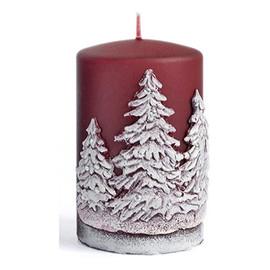 Świeca Zimowe Drzewka walec mały Bordo