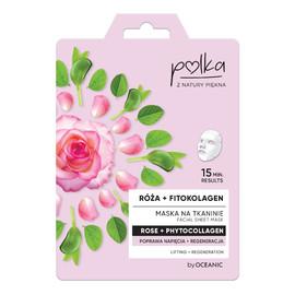 Maska na tkaninie Róża + Fitokolagen poprawa napięcia + regeneracja