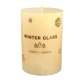 Boże Narodzenie Świeca zapachowa Winter Glass kremowa - walec średni