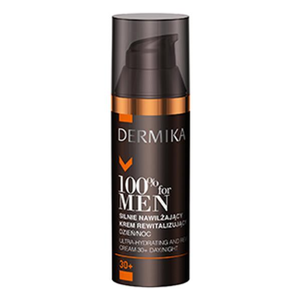 Dermika 100% For Men 30+ Silnie Nawilżający Krem Rewitalizujący Na Dzien i Na Noc 50ml