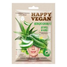 Happy Vegan maska tkaninowa do twarzy, nawilżająca, Ogórek & Aloes