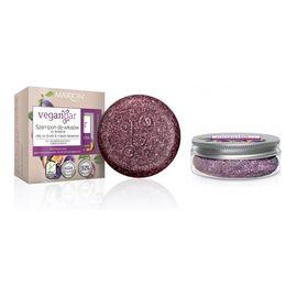 Veganbar szampon do włosów suchych i zniszczonych w kostce olej ze śliwki & masło kakaowe 50g + słoiczek