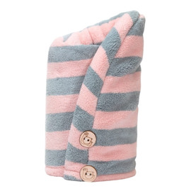 Ręcznik do włosów z mikrofibry Pink + Grey